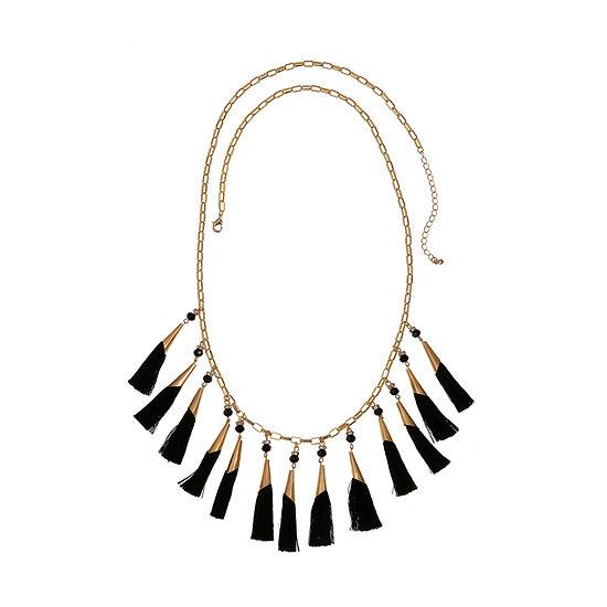 Bijoux Bar Black Fringe Statement Necklace