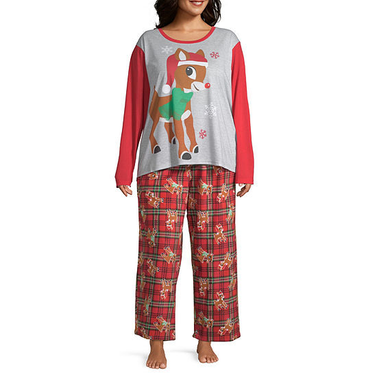 North Pole Trading Co. Rudolph Family Womens-Plus 2-pc. Long Sleeve Pant Pajama Set