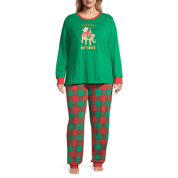 Sleepy Nites Buffalo Check Family Long Sleeve Womens 2-pc Pant Pajama Set - Plus