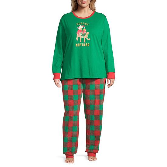 Sleepy Nites Buffalo Check Family Long Sleeve Womens 2-pc Pant Pajama Set - Plus