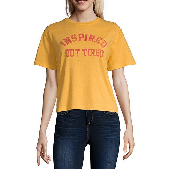 Womens Crew Neck Short Sleeve Graphic T Shirt Juniors