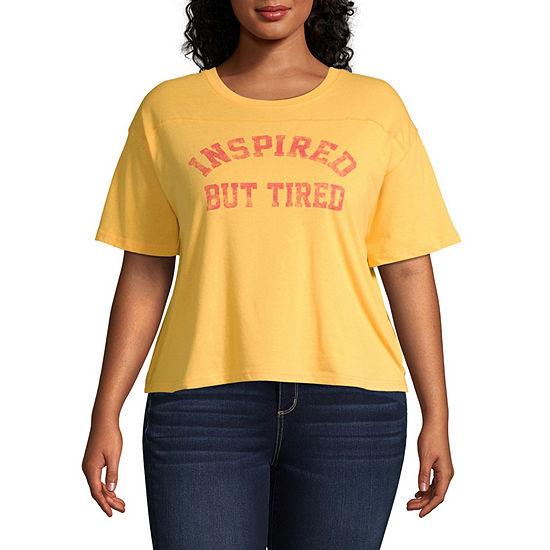 Womens Crew Neck Short Sleeve Graphic T Shirt Juniors Plus