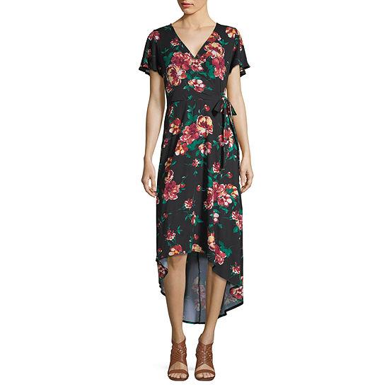 Byer California Short Sleeve Floral Wrap Dress-Juniors