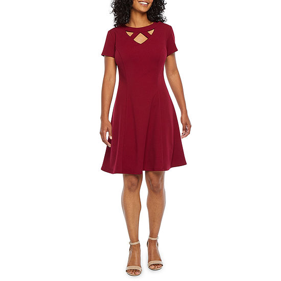 Alyx-Petite Short Sleeve Fit & Flare Dress