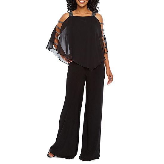 MSK 3/4 Sleeve Embellished Cape  Jumpsuit-Petite