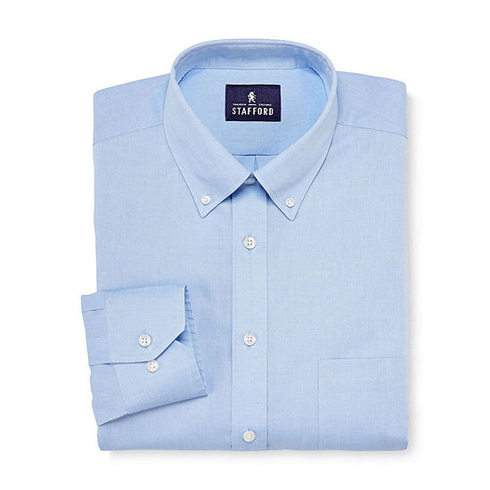 Stafford Mens Wrinkle Free Cotton Pinpoint Oxford Dress Shirt