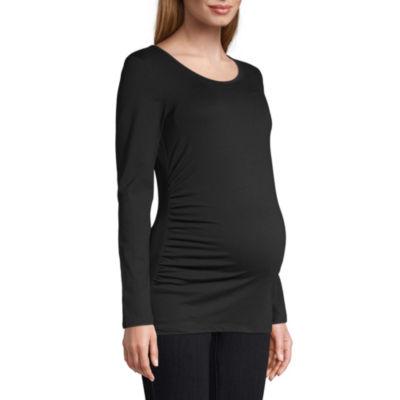Belle & Sky Maternity Long Sleeve Scoop Tee