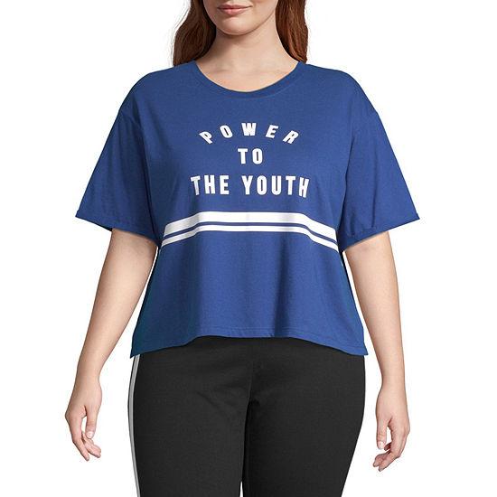 Flirtitude Juniors Plus- Crew Neck Short Sleeve Tee