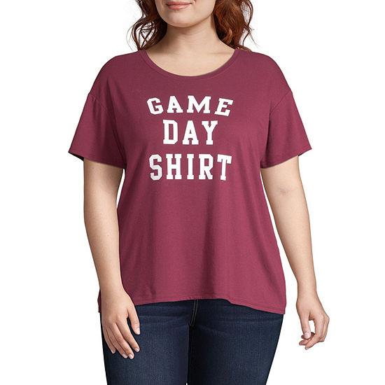 City Streets Womens Crew Neck Short Sleeve Graphic T Shirt Juniors Plus