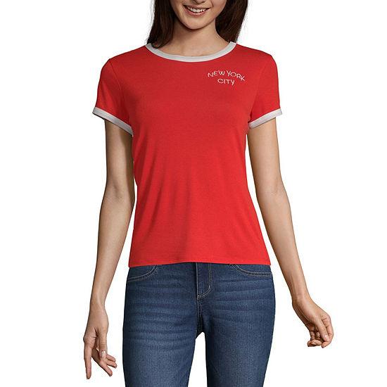 Arizona Womens Crew Neck Short Sleeve T Shirt Juniors