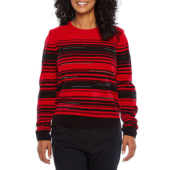 Alfred Dunner-Petite Well Red Womens Crew Neck Long Sleeve Striped Pullover Sweater