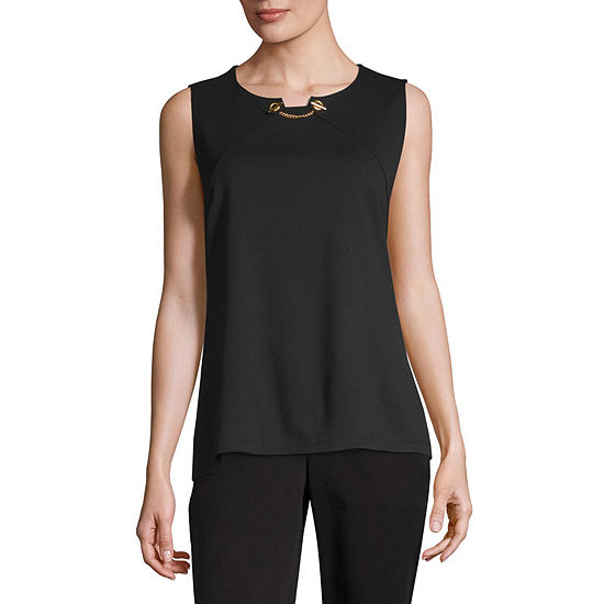 Liz Claiborne Womens Crew Neck Sleeveless Ponte Blouse