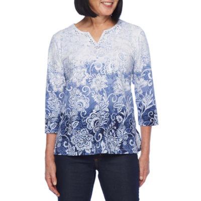 Alfred Dunner Classics-Womens Split Crew Neck 3/4 Sleeve T-Shirt