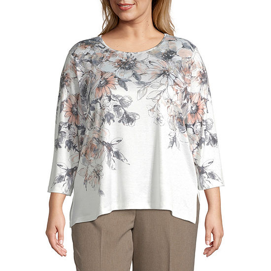 Alfred Dunner Floral Yoke Top-Plus
