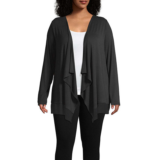 Worthington Womens Long Sleeve Chiffon Cardigan - Plus