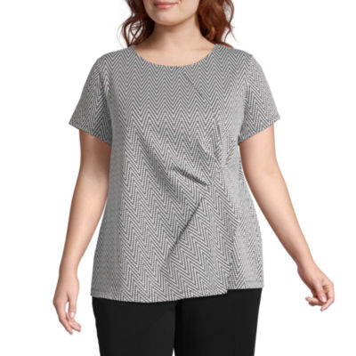 Liz Claiborne Short Sleeve Asymmetrical Top - Plus