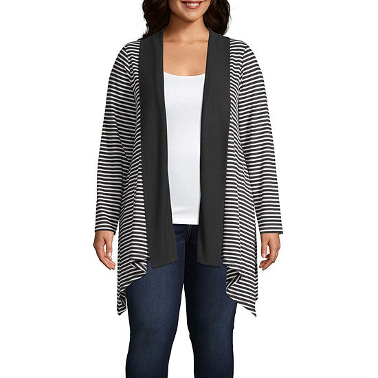 Liz Claiborne Long Sleeve Sharkbite Cardigan - Plus