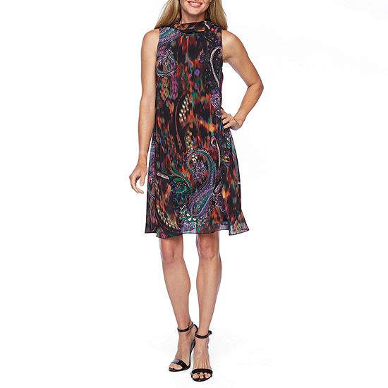 Robbie Bee Sleeveless Paisley A-Line Dress