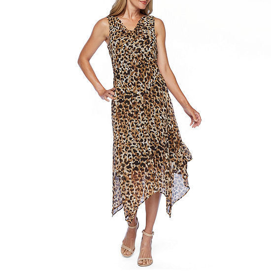 Robbie Bee Sleeveless Animal Fit Flare Dress