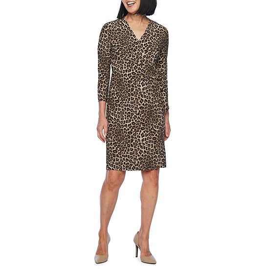 Black Label by Evan-Picone 3/4 Sleeve Leopard Print Wrap Dress