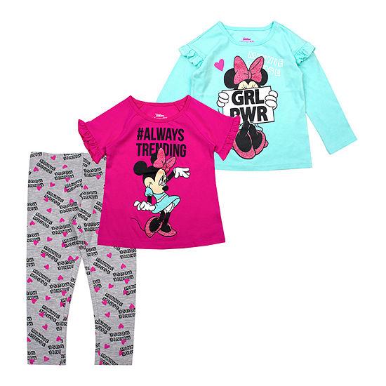 Disney Girls 3-pc. Minnie Mouse Legging Set-Toddler