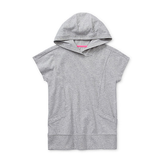 Xersion Little /Big Kid Girls Hooded Neck Short Sleeve Tunic Top