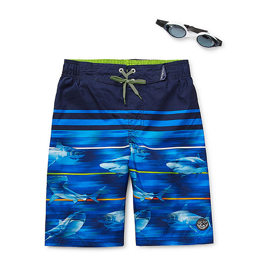 Zeroxposur-Big Kid Boys Waves Swim Trunks & Goggle Sets