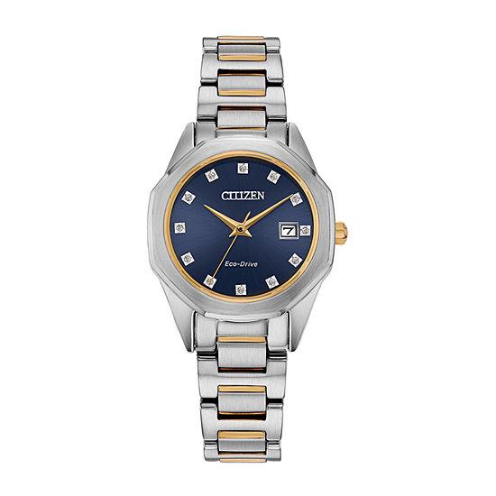 Citizen Corso Diamond Womens Diamond Accent Two Tone Stainless Steel Bracelet Watch - Ew2584-53l