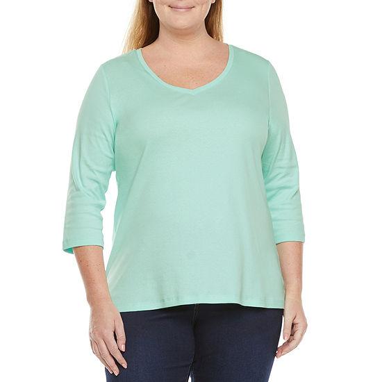 St. John's Bay Womens Plus V Neck 3/4 Sleeve T-Shirt