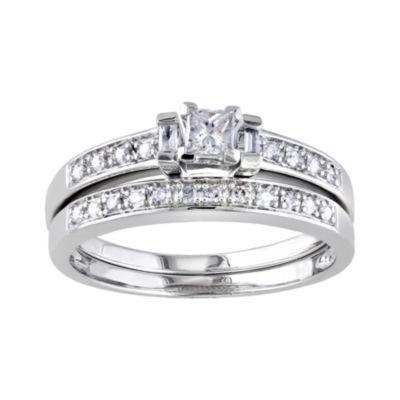 ⅓ CT. T.W. Diamond Sterling Silver Bridal Ring Set