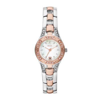 Relic® Womens Two-Tone Mother-Of-Pearl & Crystal-Accent Watch ZR12118