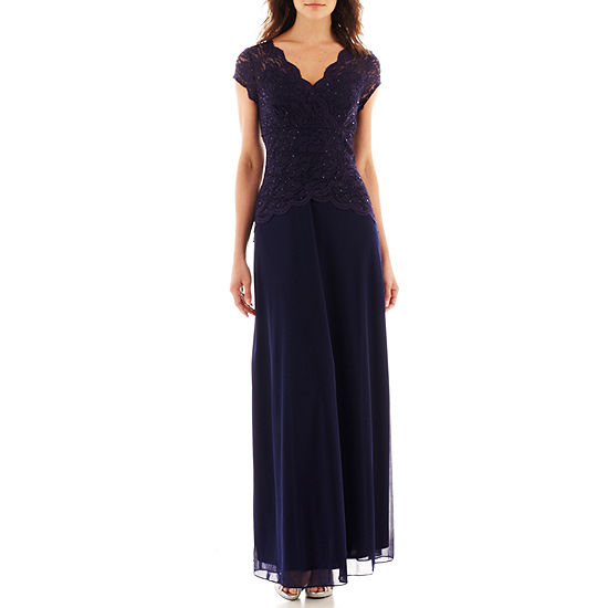 Blu Sage V Neck Cap Sleeve Tiered Lace Bodice Gown 2 875c7a4c0