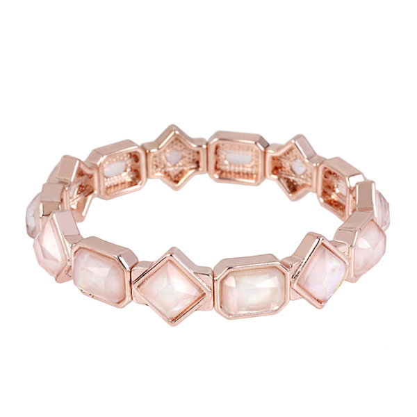 Worthington® Pink Stone Rose-Tone Stretch Bracelet