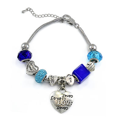 Dazzling Designs™ Silver-Plated Heart and Love Bead Bracelet