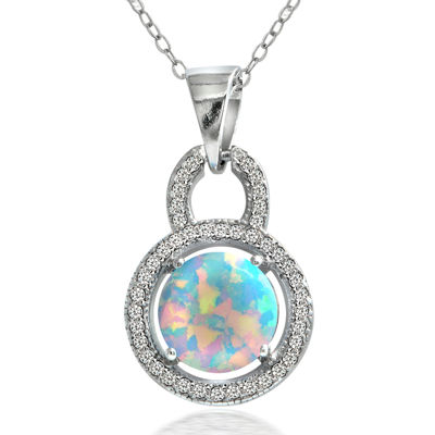 Dazzling Designs™ Simulated Opal and Cubic Zirconia Circle Pendant Necklace