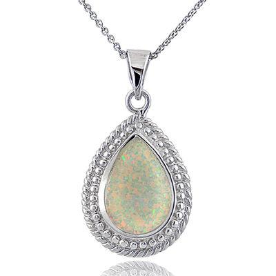 Dazzling Designs™ Simulated Opal Teardrop Pendant Necklace