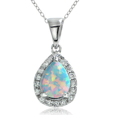 Dazzling Designs™ Simulated Opal and Cubic Zirconia Teardrop Pendant Necklace