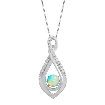 Love in Motion™ Lab-Created Opal and White Sapphire Infinity Pendant Necklace