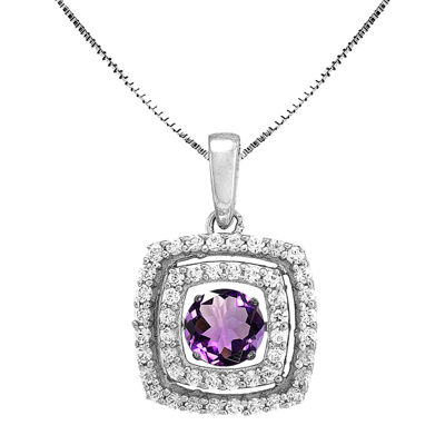 Love in Motion™ Genuine Amethyst and Lab-Created White Sapphire Cushion-Cut Pendant Necklace