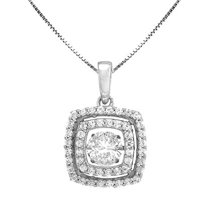 Love in Motion™ Lab-Created White Sapphire Cushion-Cut Pendant Necklace