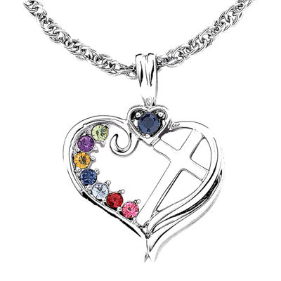 Personalized Mom Birthstone Cross within Heart Pendant Necklace