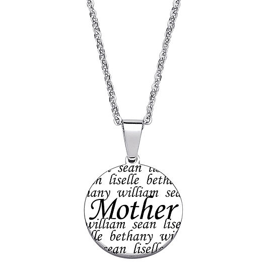 Personalized Stainless Steel Mother Circle Pendant Necklace