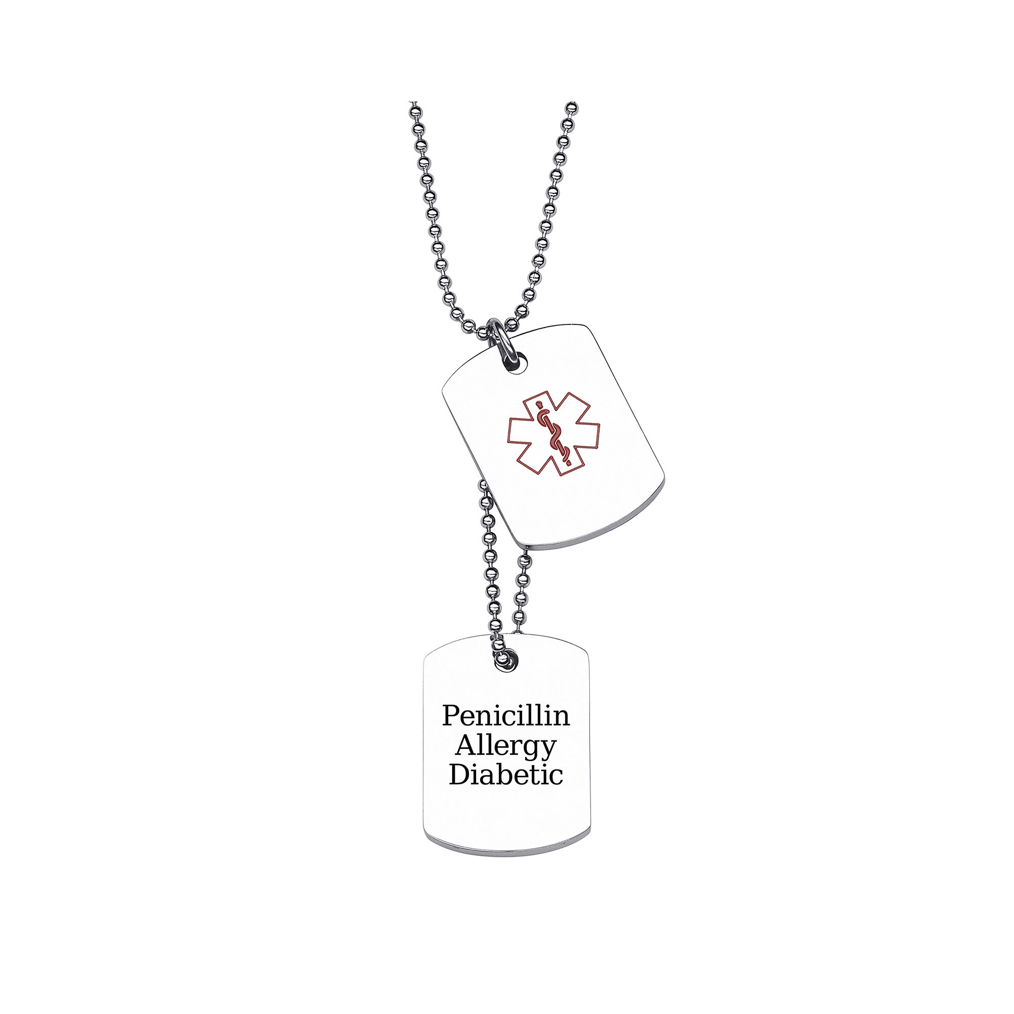 Personalized Stainless Steel Double Dog Tag Medical ID Pendant Necklace