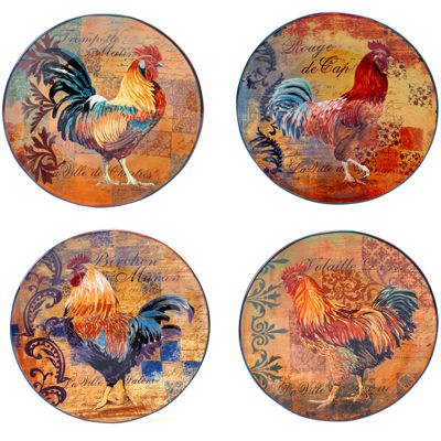 Certified International Rustic Rooster Set of 4 Dinner Plates