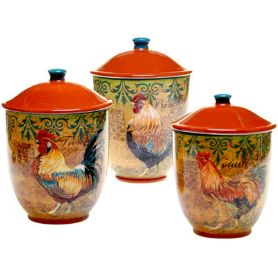 Certified International Rustic Rooster 3-pc. Canister Set