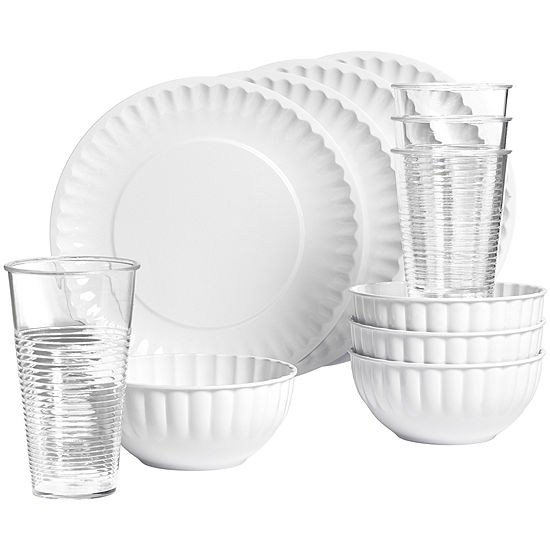 Tabletops Unlimited® 12-pc. Melamine Dinnerware Set with Acrylic Tumblers