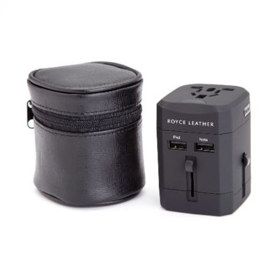 Royce Leather International Travel Adapter With Case