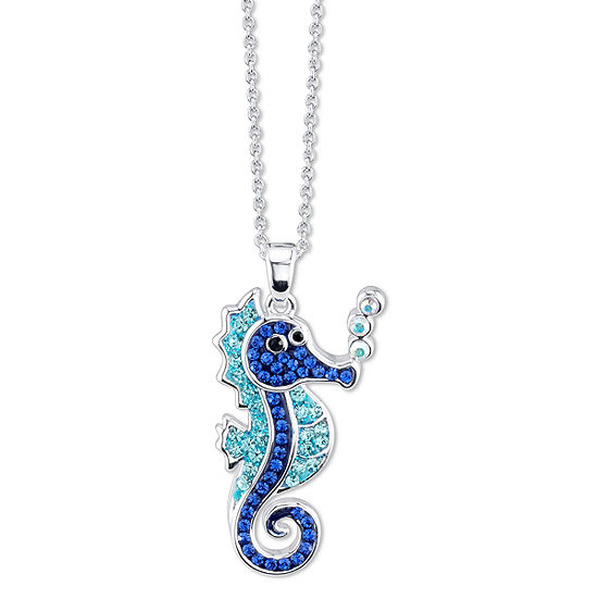 Sparkle Allure Blue Crystal 18 Inch Cable Round Pendant Necklace