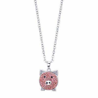 Sparkle Allure Womens Pink Silver Over Brass Pendant Necklace