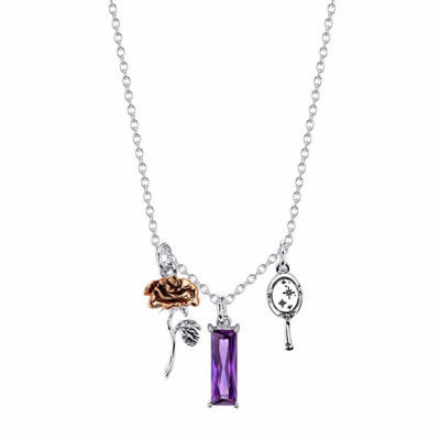 Disney Womens Purple Rectangular Beauty and the Beast Pendant Necklace
